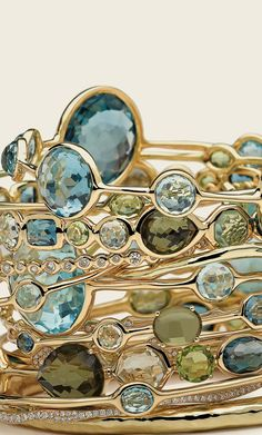 Gorgeous Bangles in gold, and turquoise and green amethyst gemstones!