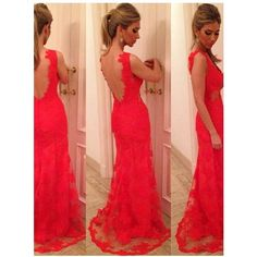 Shop Mermaid/Trumpet V-neck Floor Length Lace Red Prom Dress with... ($140) ❤ liked on Polyvore featuring dresses, trumpet dress, trumpet prom dresses, prom dresses, red prom dresses and lace applique dress