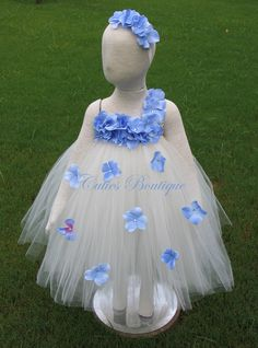 Ivory Dress With Periwinkle Hydrangea Fower Dress Wedding Dress Picture Prop 6, 12, 18, 24 Month, 2T, 3T,4T 5T  Ivory Flower Girl Tutu Dress by CutiesBoutique on Etsy https://www.etsy.com/listing/160731235/ivory-dress-with-periwinkle-hydrangea