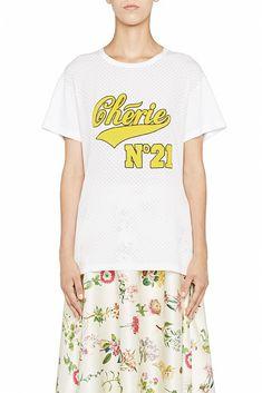 T-Shirt Chérie white White Cotton T Shirts, N21, Print Logo, Silk, Mens Tops, Women, Fashion, Moda, Women's
