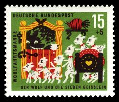 Art - Stamp Art - German - Brothers Grimm, wolf and seven kids, wolf is in the house