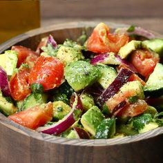 Cucumber, tomato, and avocado salad recipe by tasty salads овощные рецепты, Clean Eating Snacks, Healthy Snacks, Healthy Recipes, Delicious Recipes, Vegetarian Recipes, Roasted Veggie Salad, Pasta Recipes, Cooking Recipes, Meal Recipes