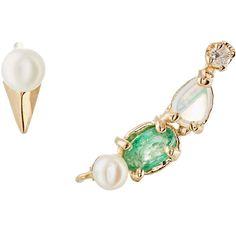 Loren Stewart Women's Mismatched Mixed-Gemstone Earrings (5.145.910 IDR) ❤ liked on Polyvore featuring jewelry, earrings, no color, 14 karat gold earrings, anchor jewelry, oval earrings, gemstone jewelry and round stud earrings