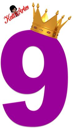 Alfabeto de Números Violeta oscuro con Coronas.69