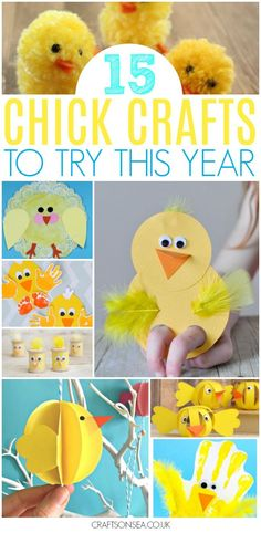 Perfect as spring or Easter crafts this fun round ups contains ideas suitable from toddlers and preschoolers to older kids with handprint chicks, ones made from toilet rolls, puppets pom poms and more. #easter #kidscrafts