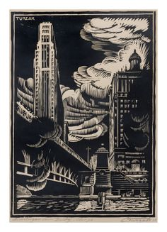Charles Turzak  (American, 1899-1985)  Michigan Avenue Bridge, Chicago, 1928 woodcut