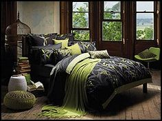 Color scheme we are considering for our bedroom...add a couple of bright orange accents also.