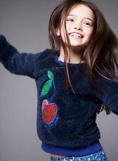 Little Marc Jacobs Faux Fur Sequined Cherry Sweatshirt