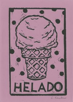 Ice Cream Linocut by CornflowerPress on Etsy, $14.00