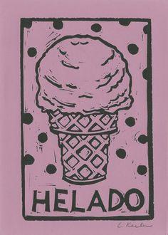 Ice Cream Linocut by CornflowerPress on Etsy, $14.00