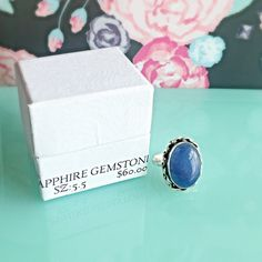 NIB SAPPHIRE GEMSTONE STERLING SILVER SZ 5.5 RING Size: 5.560.00 RETAILOval natural sapphire gemstone ring with 925 SS overlay. COMES WITH BOX NO TRADES ❌QUESTIONS FROM NON SERIOUS BUYERS DO NOT ASK FOR A BUNDLE UNLESS YOU INTEND TO BUY ✂️DO NOT LOWBALL ⛔️NO PRICE COMMENTS-USE OFFER BUTTON ⁉️PRICE IS FIRM AND REFLECTED ON FEES AND OUT OF POCKET COSTS Brooke's Gems Jewelry Rings