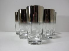 Silver Ombre High Ball Glasses / Silver Rimmed Glasses / Dorothy Thorpe Inspired / Mad Men Style Silver Ombre, Mad Men Fashion, Wooden House, Shot Glass, Etsy Shop, Glasses, Unique Jewelry, Tableware, Handmade Gifts