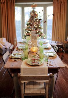 Holiday Table Setting   Damsel in Dior- love the green glassware