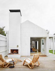 Australian Architecture, Australian Homes, Interior Architecture, Interior Design, Sawn Timber, Timber Battens, White Exterior Houses, White Houses, Brickwork