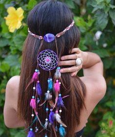 superbe accessoire de cheveux en forme d'attrape-reve, suggestion charmante