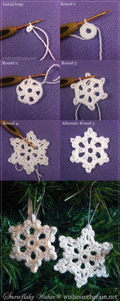 20 Easy Crochet Ornaments and Projects for Christmas – For Creative Juice Crochet Snowflake Ornaments. Easy and fun crochet projects even for beginners! You can make a couple for friends as a small gift or used as Christmas tree ornaments! Free Crochet Snowflake Patterns, Crochet Stars, Crochet Snowflakes, Crochet Flowers, Crochet Ornament Patterns, Vintage Crochet Patterns, Christmas Knitting Patterns, Hand Crochet, Crochet Christmas Ornaments