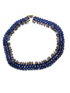 RHK1007 - Halskette, edles Collier , 45cm mit Ringverschluss dunkelblau/gold Rocailles,Original-Schmuck 70-ziger Jahre. Da es sich nicht um neue Ware (Antiquitäten) handelt, gibt es das Produkt in der Regel nur als Einzelstück.