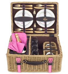 valentines day, picnic basket, pink, Champagne, romantic, romantic picnic basket, Made-to-order picnic basket from Loewe