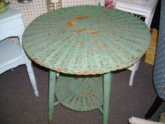 For vintage, coastal, shabby chic or cottage decor, old wicker table, original green paint.  SOLD!