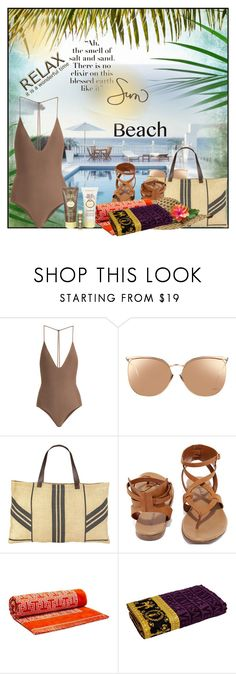 """""""Sun's Out: Beach Day☀"""" by eco-art ❤ liked on Polyvore featuring Jade Swim, Linda Farrow, The Beach People, Breckelle's, Tory Burch, Versace and Sun Bum"""