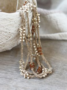 Boho chic long linen necklace with glass beads Tan brown beige crochet necklace Rustic Natural jewelry Fall fashion - pinned by pin4etsy.com