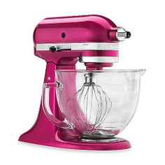 This unique 5-quart tilt-head stand mixer is part of KitchenAid's Designer Series. This stand mixer features a premium metallic finish with a glass bowl so you can see the legendary planetary mixing in action.