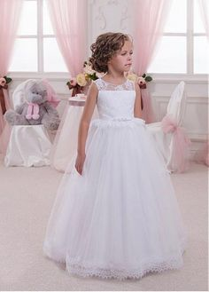 Marvelous Tulle & Satin Jewel Neckline A-Line Flower Girl Dresses With Lace Appliques