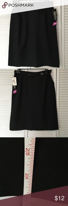 """NWT Black skirt with hidden side slit pockets NWT Briggs  Black belted skirt with hidden side slit pockets. Waistband has 2"""" on each side elastic section for a comfort fit. 100% washable polyester. 27"""" long. Briggs Skirts Pencil"""