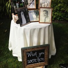 at our wedding we are doing this! putting moms picture and grandpa browns and whoever else has died in our lives that we wish were there on our wedding day! great way to memorialize our loved ones that passed away!