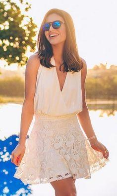 Look: Camila Coelho - All White Mais Love Fashion, Girl Fashion, Fashion Outfits, Fashion 2017, Fashion Clothes, Latest Fashion, Summer Dresses 2017, Summer Outfits, Modern Outfits