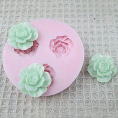 3D 3 cell Flowers Silicone Mold Fondant Forme Sugar Craft Tools Chokolade Mould til kager – DKK kr. 35