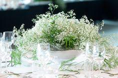 White & Green Wedding Reception made by thousands of tiny white flowers - Gypsophila. Andel's Hotel Lodz, Polandy by artsize.pl