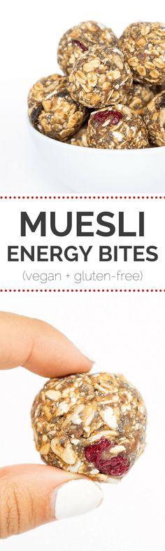A recipe for healthy energy bites that uses gluten-free muesli, quinoa flakes, peanut butter, dates and other nutritious ingredients. They're delicious! Healthy Protein Snacks, Healthy Desserts, Protein Foods, Healthy Eats, Breakfast Recipes, Snack Recipes, Cooking Recipes, Yummy Snacks, Breakfast Ideas
