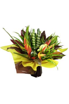 Bouquet fleurs tropicales : Heliconia tropic, heliconia buea, feuillages exotiques, solanum Penja Rungis : Fournisseur de végétaux insolites