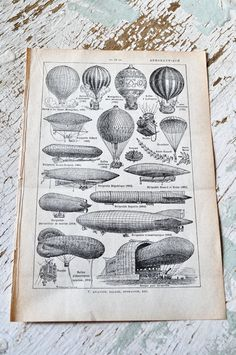 Vintage French Dictionary Page Hot Air Balloon, Zeppelin - Original 1937 - Steampunk-original, authentic, french, dictionary, page, paper, ephemera, illustrated, engraved, hot air balloon, zeppelin