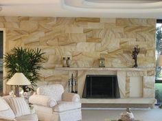 sandstone fire place Sandstone Fireplace, Sandstone Wall, Fireplace Wall, Fireplace Surrounds, Fireplace Ideas, House In The Woods, My House, Farm House, Sandstone Cladding
