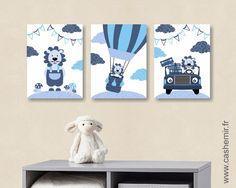 Lot de 3 illustrations pour chambre d'enfant garçon, affiche poster décoration…