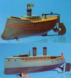 2 Tinplate Clockwork Battleships Bing & Carette