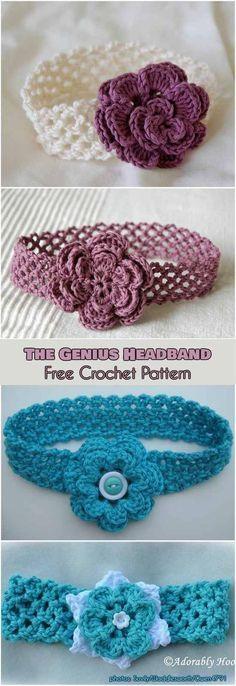 Genius Headband with Flower Free Crochet Pattern #freecrochetpatterns #crochetheadband #crochetflowers