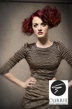Currie Hair Skin & Nail Salon, Hair Style, Hair Cut, Hair Color, Red Curly Hair, Runway Hair