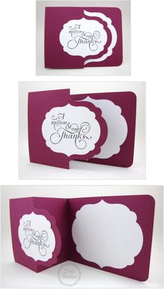 Stampin' Up! ... hand crafted thank you card ... tri-fold design with placement of die cut labels to be overlapping ... great layout design ...