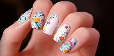 flowers embroidery on white nails