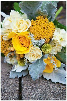 Yellow Roses, Yellow Freesia, Yellow Riceflower, Yellow Craspedia, Cream Tea Roses, Cream Stock, Blush Hypericum Berries, Broad Leaf Dusty Miller~~