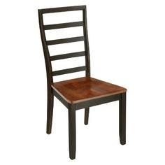 Ladder Back Wooden Side Chair Wood/Acacia/Black (Set of 2) - Furniture of…
