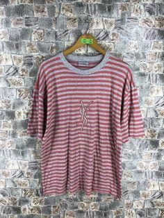 40e35612af8c YVES SAINT LAURENT Stripes Tshirt Large Vintage Ysl Saint Laurent Paris  Spell Out Border Stripes Red/Gray Tee Tshirt Size L