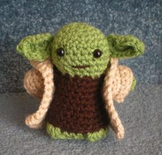 Made to order, Hand crocheted Star Wars Yoda with Cloak Amigurumi Doll.
