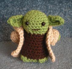Hand crocheted Star Wars Yoda with Cloak Amigurumi Doll via Etsy.