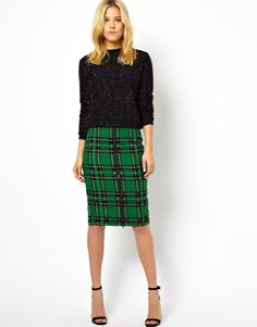 Green plaid check pencil skirt for the holidays