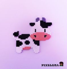 Animal, Cow, Perler Beads, Hama Beads by PixelenaMV on deviantART Perler Bead Designs, Easy Perler Bead Patterns, Melty Bead Patterns, Perler Bead Templates, Hama Beads Design, Diy Perler Beads, Perler Bead Art, Melty Beads Ideas, Melty Bead Designs