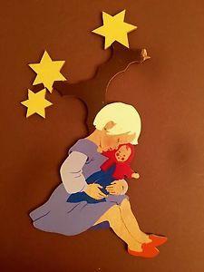 #Wooden Fairy Tale #Märchen-Holzbild #Hellerkunst Sternenbaum Star Tree Girl
